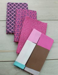 Set de 4 telas precortadas especiales para patchwork en color rosa oscuro