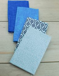 Set de 4 telas precortadas especiales para patchwork en color azul