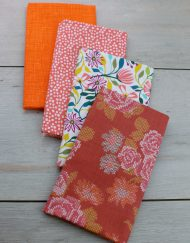 Set de 4 telas precortadas especiales para patchwork en colores naranja