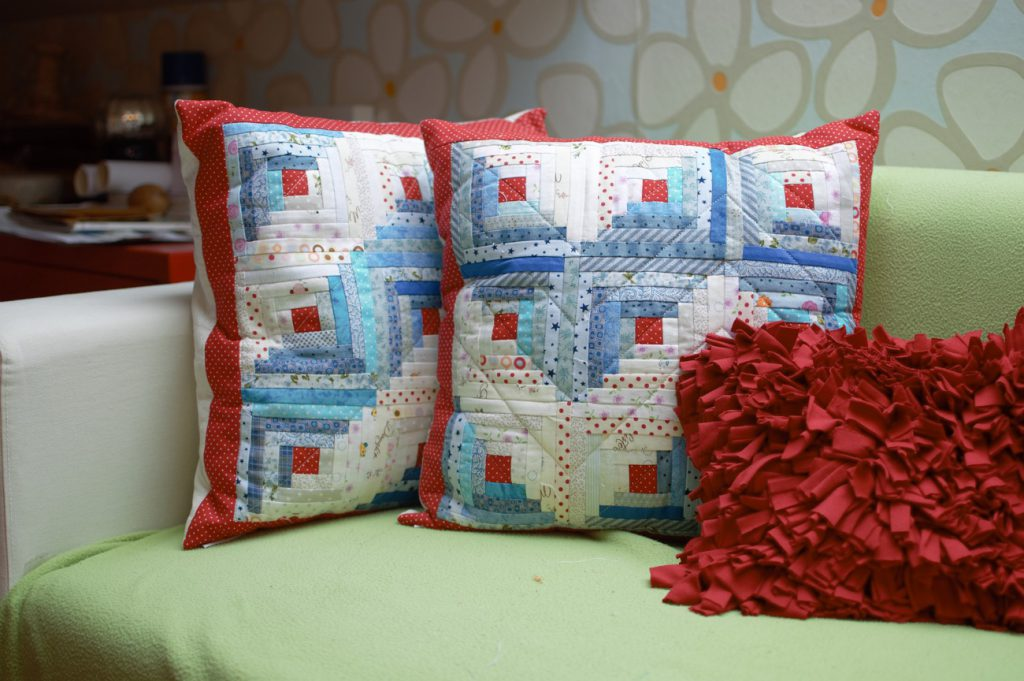 Cojines log cabin patchwork